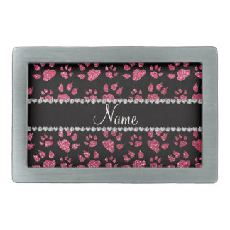 Personalized name fuchsia pink glitter cat paws rectangular belt buckle