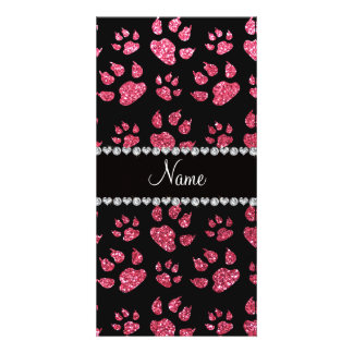 Personalized name fuchsia pink glitter cat paws photo cards