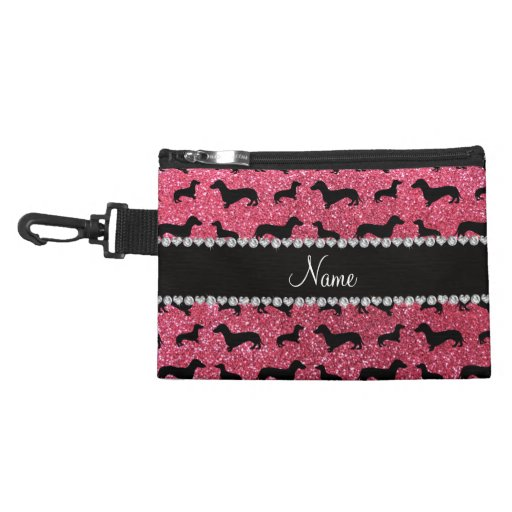 Personalized name fuchsia pink glitter dachshunds accessory bag