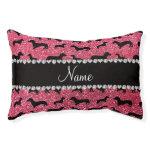 Personalized name fuchsia pink glitter dachshunds small dog bed