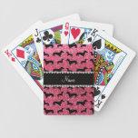 Personalized name fuchsia pink glitter dachshunds card deck