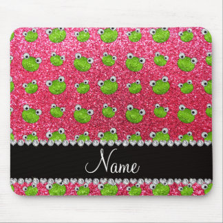 Personalized name fuchsia pink glitter frogs mouse pad