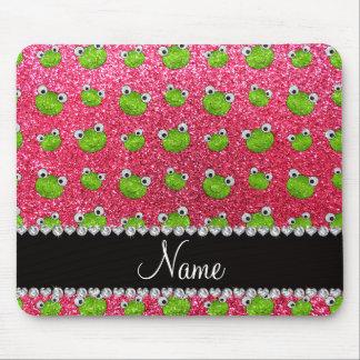Personalized name fuchsia pink glitter frogs mousepad