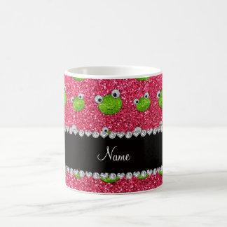 Personalized name fuchsia pink glitter frogs coffee mug
