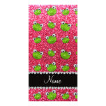 Personalized name fuchsia pink glitter frogs photo cards