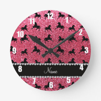 Personalized name fuchsia pink glitter horses clock