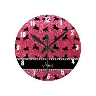 Personalized name fuchsia pink glitter horses round clock