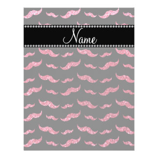 "Personalized name fuchsia pink glitter mustaches 8.5"" x 11"" flyer"