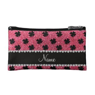 Personalized name fuchsia pink glitter shamrocks cosmetics bags