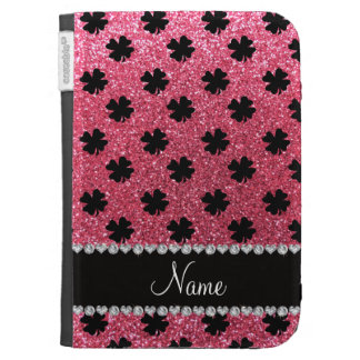 Personalized name fuchsia pink glitter shamrocks cases for the kindle