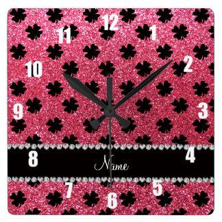 Personalized name fuchsia pink glitter shamrocks wallclocks