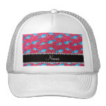 Personalized name fuchsia pink glitter whales trucker hats