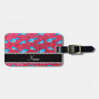 Personalized name fuchsia pink glitter whales luggage tags