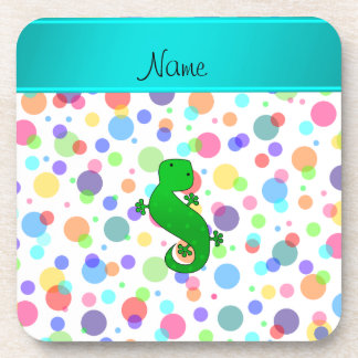 Personalized name gecko white rainbow polka dots beverage coasters