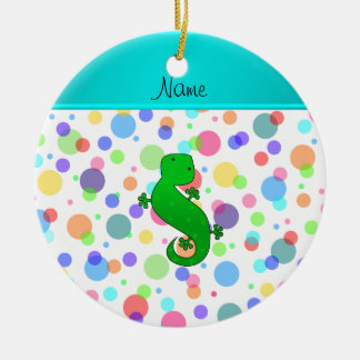 Personalized name gecko white rainbow polka dots Double-Sided ceramic round christmas ornament