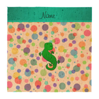 Personalized name gecko white rainbow polka dots drink coaster