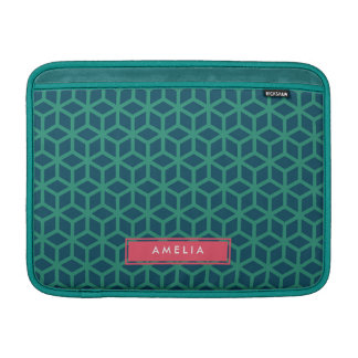 Personalized Name Geometric Pattern Teal Sleeve For MacBook Air