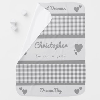 Personalized name gingham gray gender neutral swaddle blanket