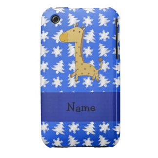 Personalized name giraffe blue snowflakes trees iPhone 3 case