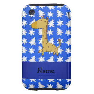 Personalized name giraffe blue snowflakes trees tough iPhone 3 covers