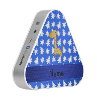 Personalized name giraffe blue snowflakes trees bluetooth speaker