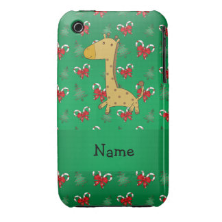 Personalized name giraffe green candy canes bows iPhone 3 Case-Mate cases