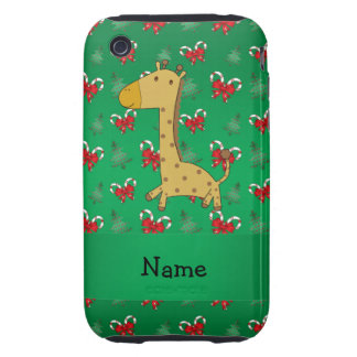 Personalized name giraffe green candy canes bows iPhone 3 tough case