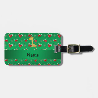 Personalized name giraffe green candy canes bows tags for bags