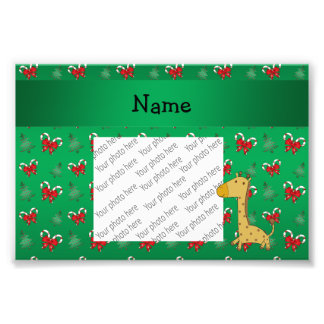 Personalized name giraffe green candy canes bows photograph