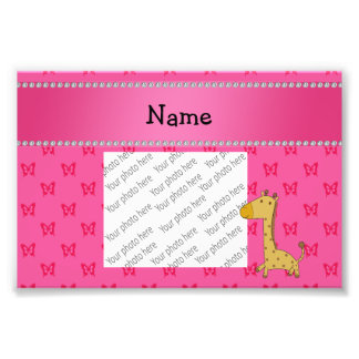 Personalized name giraffe pink butterflies photograph