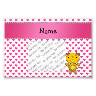 Personalized name giraffe pink hearts polka dots photographic print