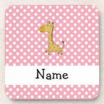 Personalized name giraffe pink polka dots coasters