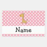 Personalized name giraffe pink polka dots rectangular sticker