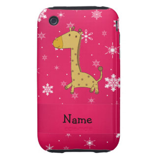 Personalized name giraffe pink snowflakes tough iPhone 3 cases