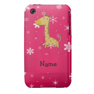 Personalized name giraffe pink snowflakes iPhone 3 Case-Mate cases
