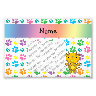 Personalized name giraffe rainbow paws photographic print