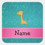 Personalized name giraffe turquoise glitter square sticker