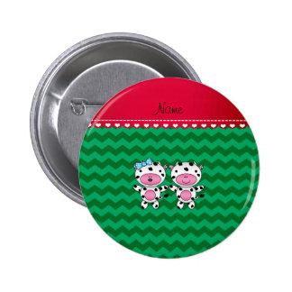 Personalized name girl boy cow green chevrons pinback button