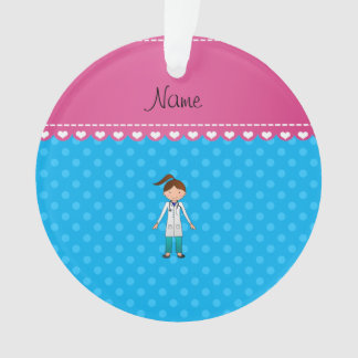Personalized name girl doctor blue polka dots