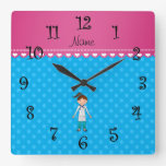 Personalized name girl doctor blue polka dots wall clock
