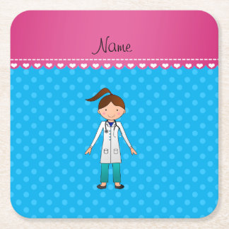 Personalized name girl doctor blue polka dots square paper coaster