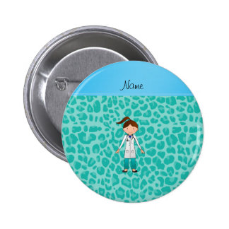 Personalized name girl doctor green leopard buttons