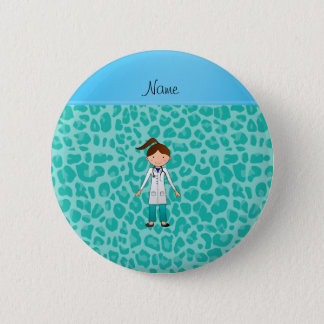Personalized name girl doctor green leopard pinback button