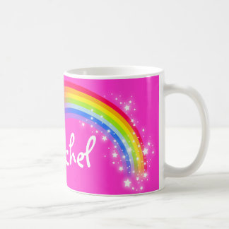 Personalized name girls rachel rainbow pink mug