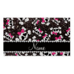 Personalized name glitter black skulls pink bows Double-Sided standard business cards (Pack of 100)