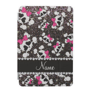 Personalized name glitter black skulls pink bows iPad mini cover