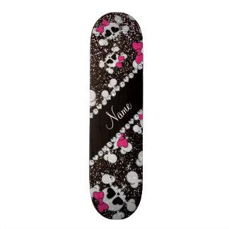 Personalized name glitter black skulls pink bows skateboards