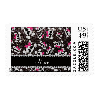 Personalized name glitter black skulls pink bows stamp