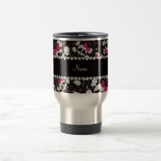 Personalized name glitter black skulls pink bows travel mug
