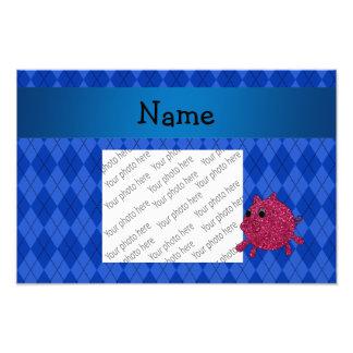Personalized name glitter pig blue argyle art photo